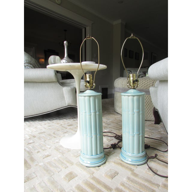 Vintage Celadon Table Lamps - A Pair - Image 3 of 4