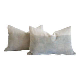 Faded Demin Acid Wash Colored Mud Cloth Pillows For Sale