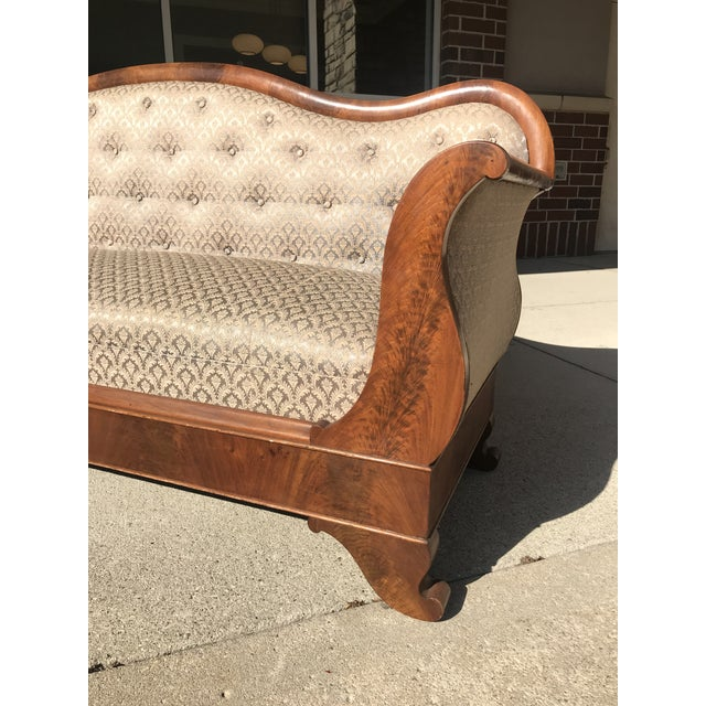 Mid 19th Century Victorian Meeks Attributed Flame Mahogany Veneer Sofa Settee For Sale - Image 6 of 11