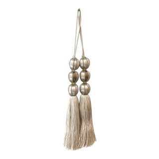 Pair of Ivory Beaded Key Tassels - H - 7.5 Inches For Sale