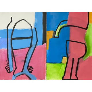 """""""Scary Monsters"""" Contemporary Abstract Acrylic Painting by Carolyn Reed Barritt - Diptych For Sale"""