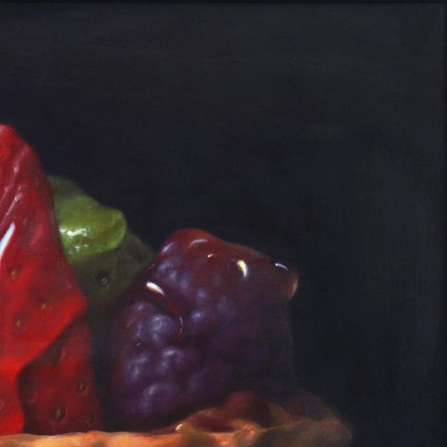 """Realism """"Strawberry Tartle"""" Framed Original Photorealistic Oil Painting by Stuart Dunkel For Sale - Image 3 of 10"""