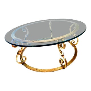 Italian Gilt Wrought Iron Glass Top Coffee Table For Sale