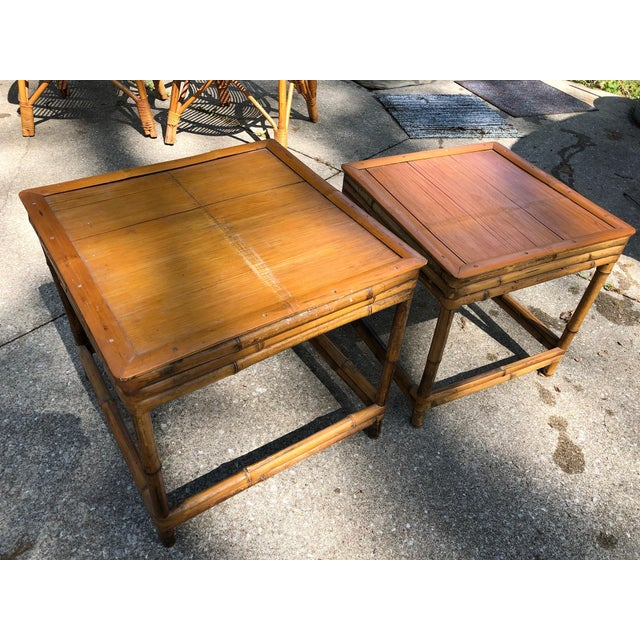 Mid 20th Century Cali- Asian Style Bamboo Nesting Tables - a Pairt For Sale - Image 9 of 9