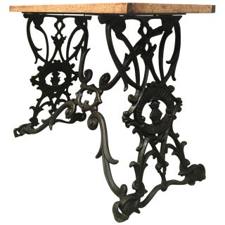 19th Spanish Cast Iron Bistro, Garden, Coffee Table With Original Wood Top Table For Sale