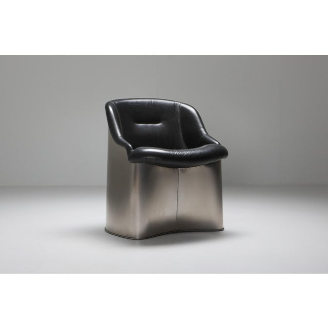 1970s 1970s Boris Tabaccof Leather and Metal Easy Chair For Sale - Image 5 of 9