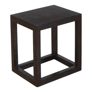 Black Lizard Skin Upholstered Diminutive Parsons Table