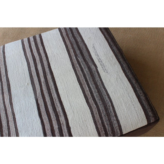 Upholstered Ottoman in Vintage Striped Navajo Rug For Sale - Image 9 of 11