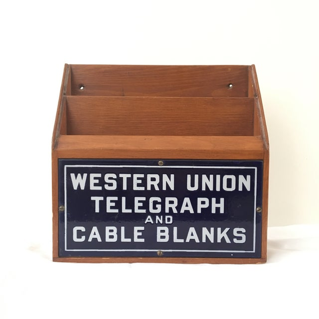 Incredible and pristine original example of the Western Union box that held the blank forms used to fill out telegrams and...
