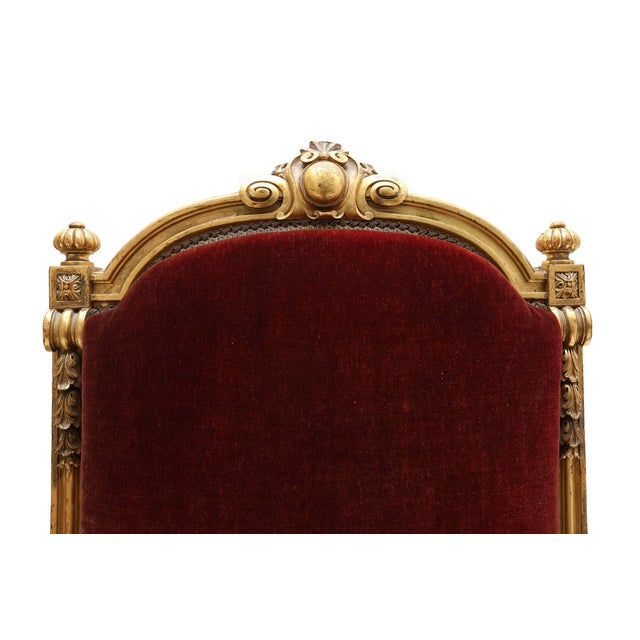 Giltwood and Velvet Classical Armchairs For Sale - Image 6 of 7