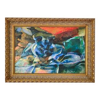 """Umberto Boccioni Still Life """"Natura Morta Con Brocca E Scodella"""" Digital Canvas Print Framed For Sale"""