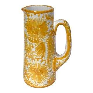 Portuguese Yellow & White Ceramic Pitcher For Sale
