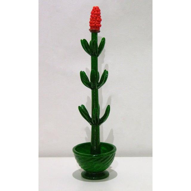 1980s 1980s Italian Organic Green Murano Glass Potted Plants With Red Flower - a Pair For Sale - Image 5 of 8