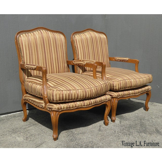 Vintage French Country Brown Stripped Accent Chairs With Down Cushions - a Pair For Sale - Image 12 of 12