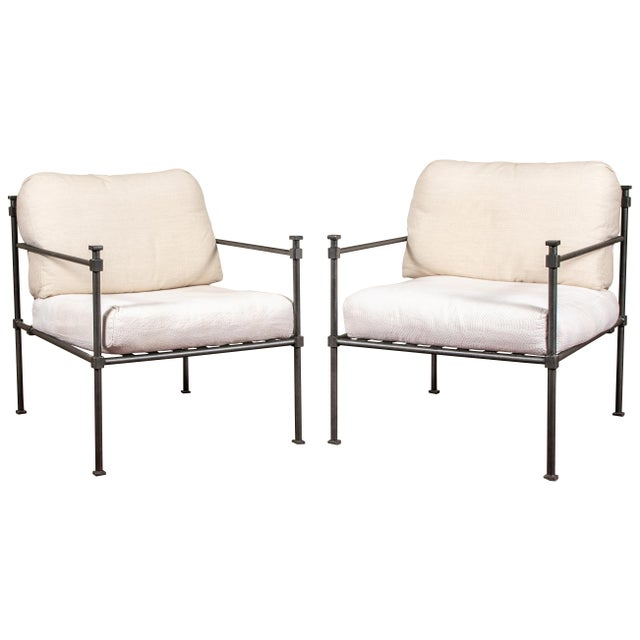 White Pair of Welded Construction Modern Armchairs For Sale - Image 8 of 8