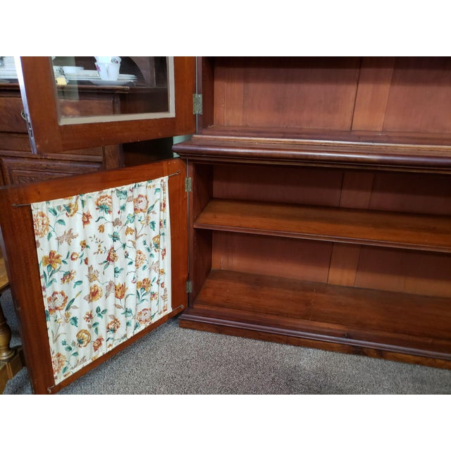 Wood Victorian Mahogany & Glass Door Cabinet. For Sale - Image 7 of 8