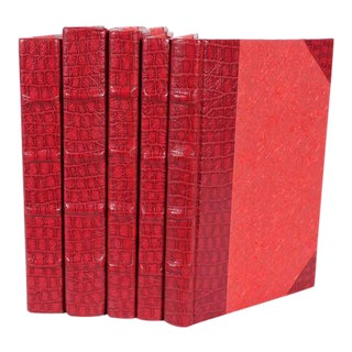 Exotic Collection Croc I Red Books - Set of 5 For Sale