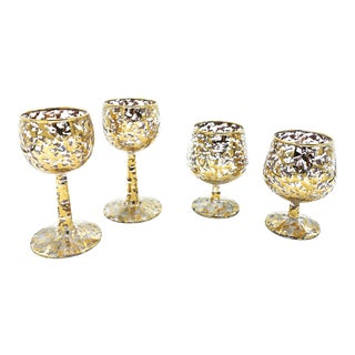 Vintage Mid Century 4 Piece Set of 22kt Gold Speckled Barware Glasses, by Federal Glass Company For Sale
