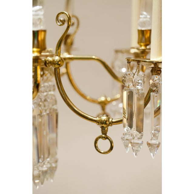 Brass Brass and Crystal Gasolier For Sale - Image 8 of 13