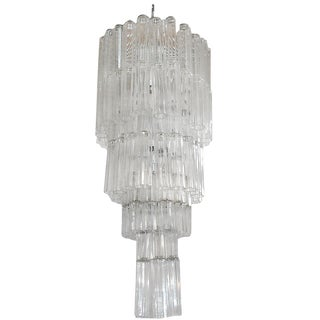 1960s Italian Venini Murano Star Glass Tubes Chandelier For Sale