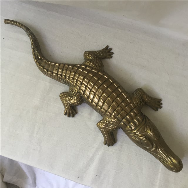Amazing and extremely large/heavy brass alligator with an open mouth and textured details. In great condition with wear...