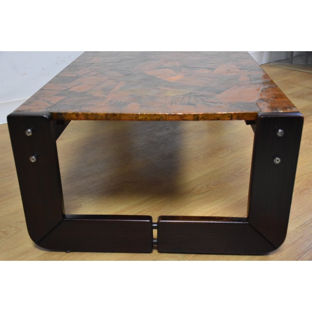 Lafer Brazilian Rosewood and Copper Coffee Table - Image 4 of 11