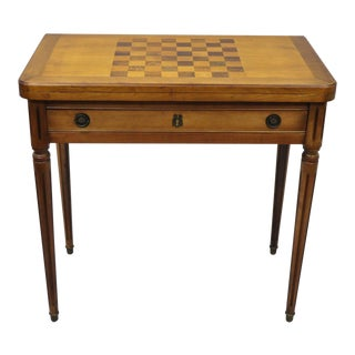 20th Century Italian Cherry Wood & Rosewood Flip Top Card Game Table For Sale