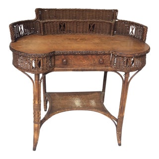 1900s Americana Heywood Brothers & Wakefield Co. Wicker Desk For Sale