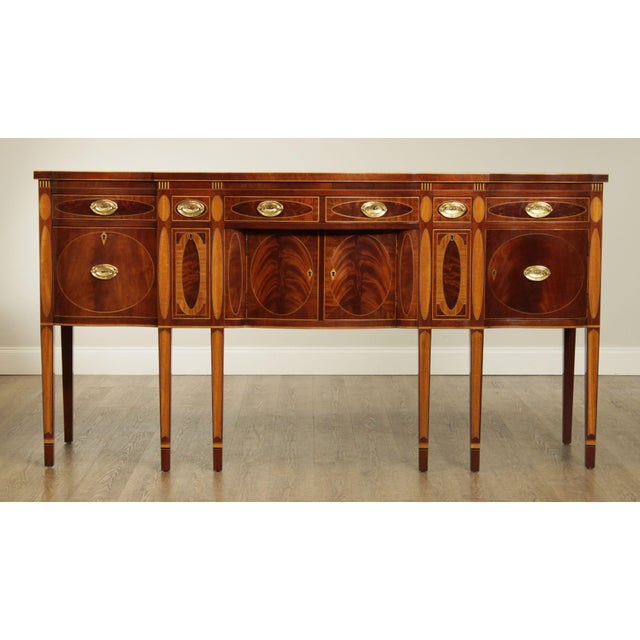 High Quality American Made Inlaid Sideboard, Dovetailed Drawers, Key Locking Store Item#: 27372