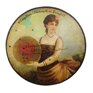 Antique Hand-painted Marksman King Target Plaque 1892 For Sale