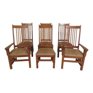 1990s Vintage Thomasville Mission Oak Style Dining Room Chairs- Set of 6 For Sale