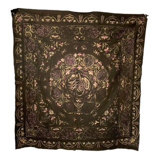 Antique Turkish Silk Embroidery Wool Textile For Sale