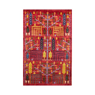 Wheatfield in Red Afghan Rug - 6′ × 9′ For Sale