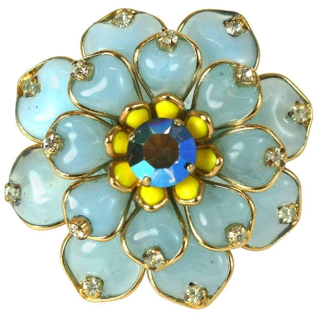 Mwlc Aquamarine Pave Zinnia Brooch For Sale - Image 4 of 4