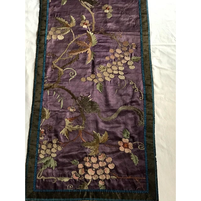 Chinese Embroidered Silk Textile-Runner For Sale - Image 4 of 12