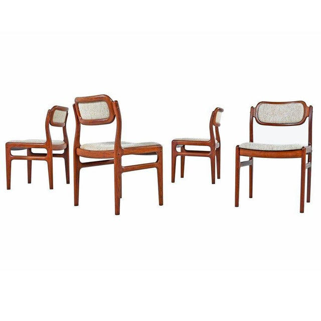 Fabric Danish Modern Rosewood Dining Chairs - Set of 4 For Sale - Image 7 of 7