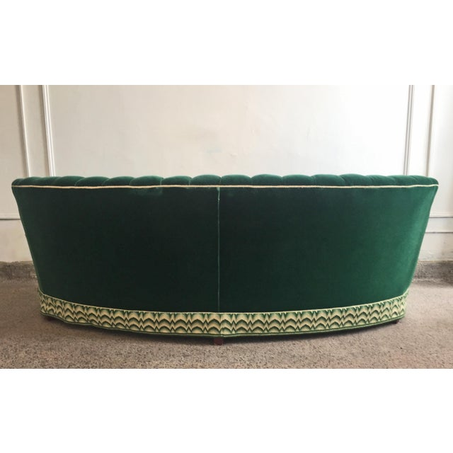 Hollywood Regency Green Mohair Curved Tufted Sofa For Sale - Image 3 of 6