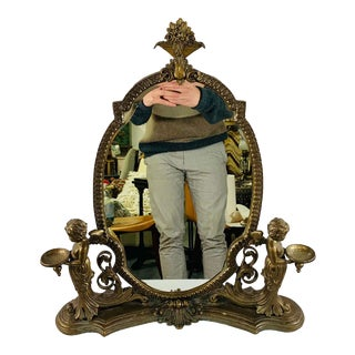 Late 19th Century French Louis XV Bronze Vanity Mirror With Cherubs Candle Holders For Sale