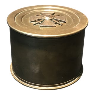 1910's World War I French Trench Art Brass Tobacco Jar For Sale