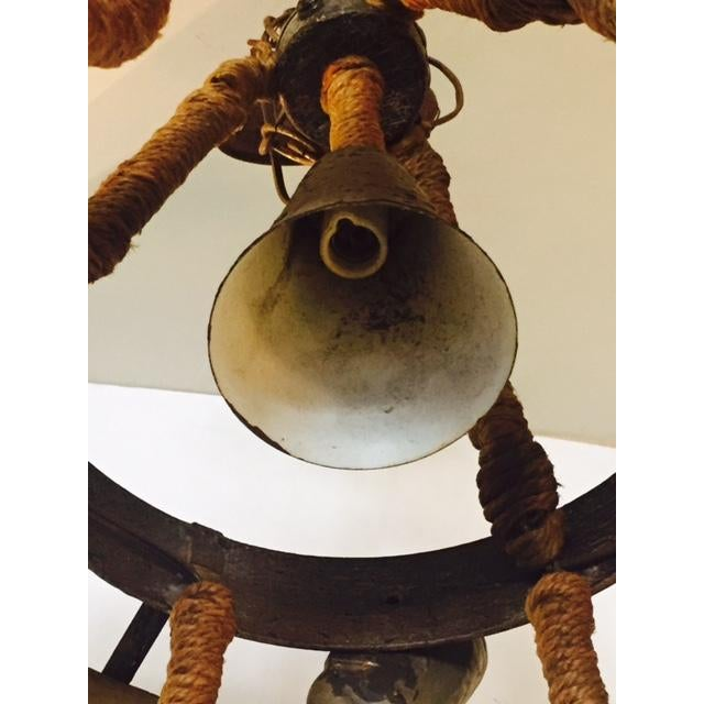 Rustic Bohemian Style Ram Horn Chandelier - Image 5 of 6