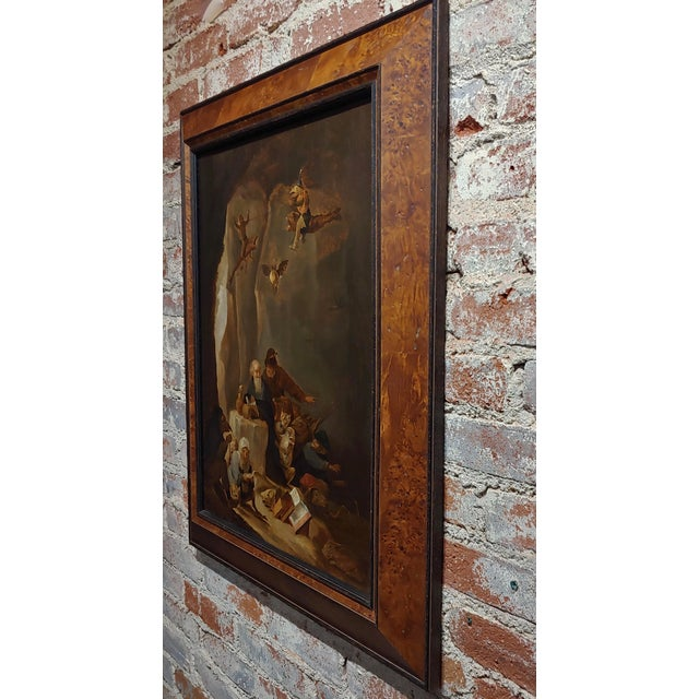 Canvas David Teniers the Younger-Flemish-The Temptation of St. Anthony-Oil Painting-C1680s For Sale - Image 7 of 9