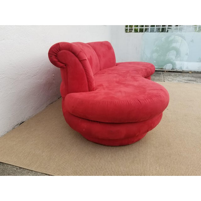 1980s Mid-Century Modern Adrian Pearsall for Comfort Red Curved Sofa For Sale - Image 10 of 12