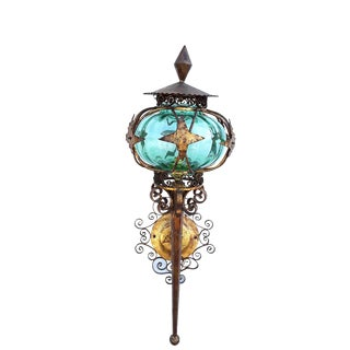 Large Antique Tole Torchiere Teal Globe Gilt Art Nouveau Wall Sconce/Torchiere Itlaian Tole Gold Scrolled Wall Sconce For Sale