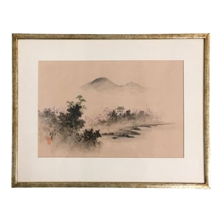 Vintage Framed Asian Silk Painting