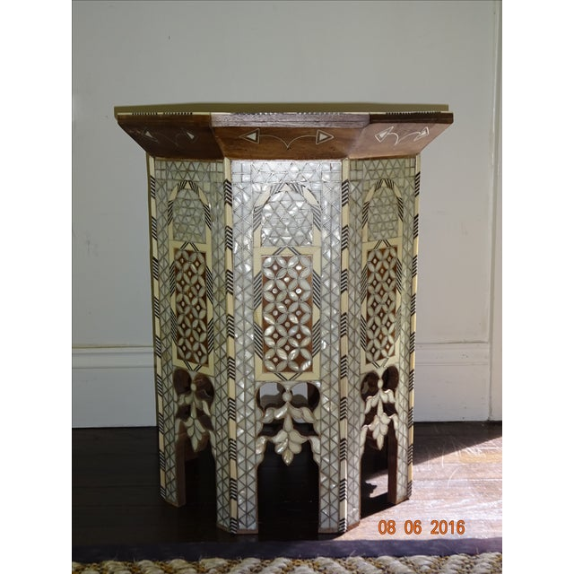 Syrian or Moroccan Mother of Pearl Inlay Side Table - Image 3 of 9