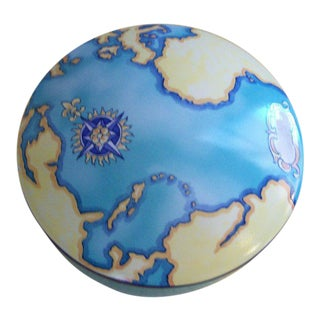 Tiffany & Co Tauck Blue World Map Porcelain Box