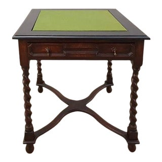 Antique French Oak Barley Twist Library Card Game Table Side Table With Single Drawer For Sale