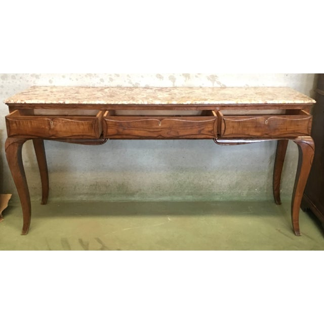 19th French Three Drawers Console Table With Top Marble For Sale In Miami - Image 6 of 11