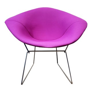 Contemporary Bertoia Diamond Chair Steel Wire Frame Purple Upholstery For Sale