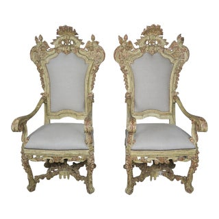 Pair of Italian Carved Painted Armchairs, 19th Century For Sale